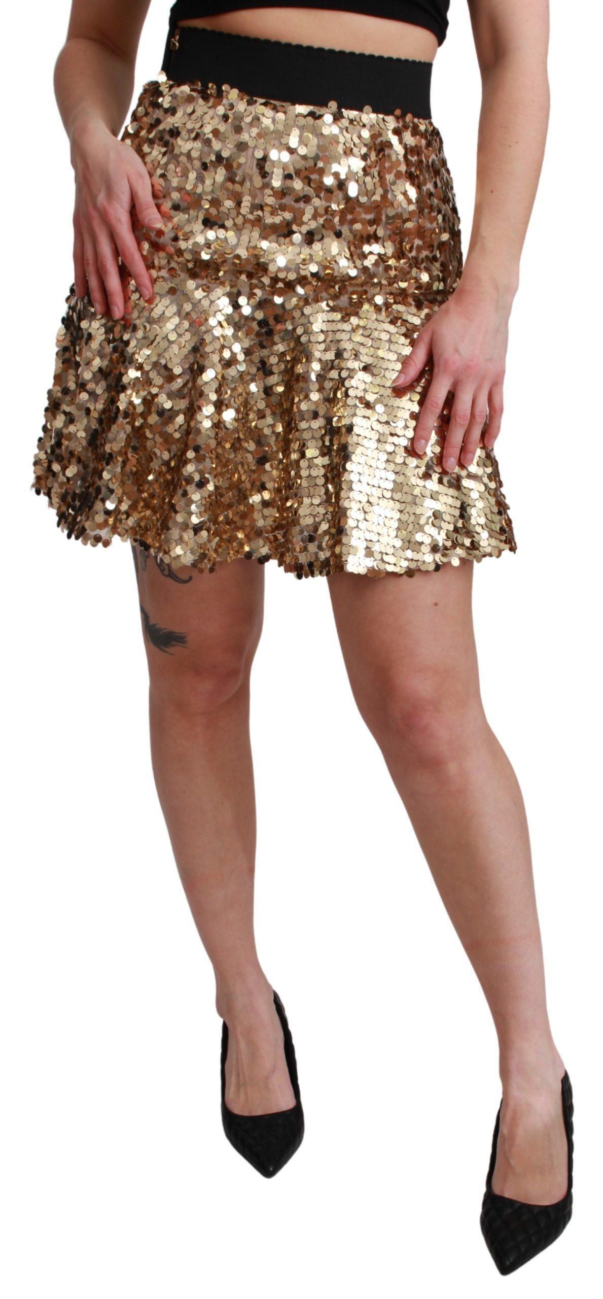 Dolce & Gabbana Women's Sequined High Waist A-line Mini Skirt SKI1451 - IT38|XS