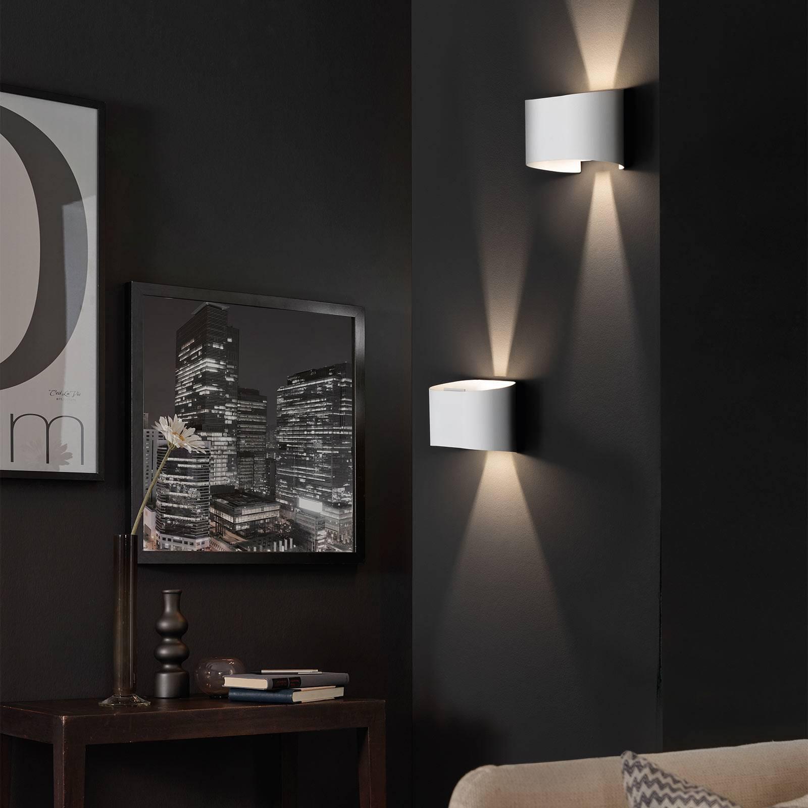 LED-vegglampe Wall, 2 lyskilder, rund, hvit