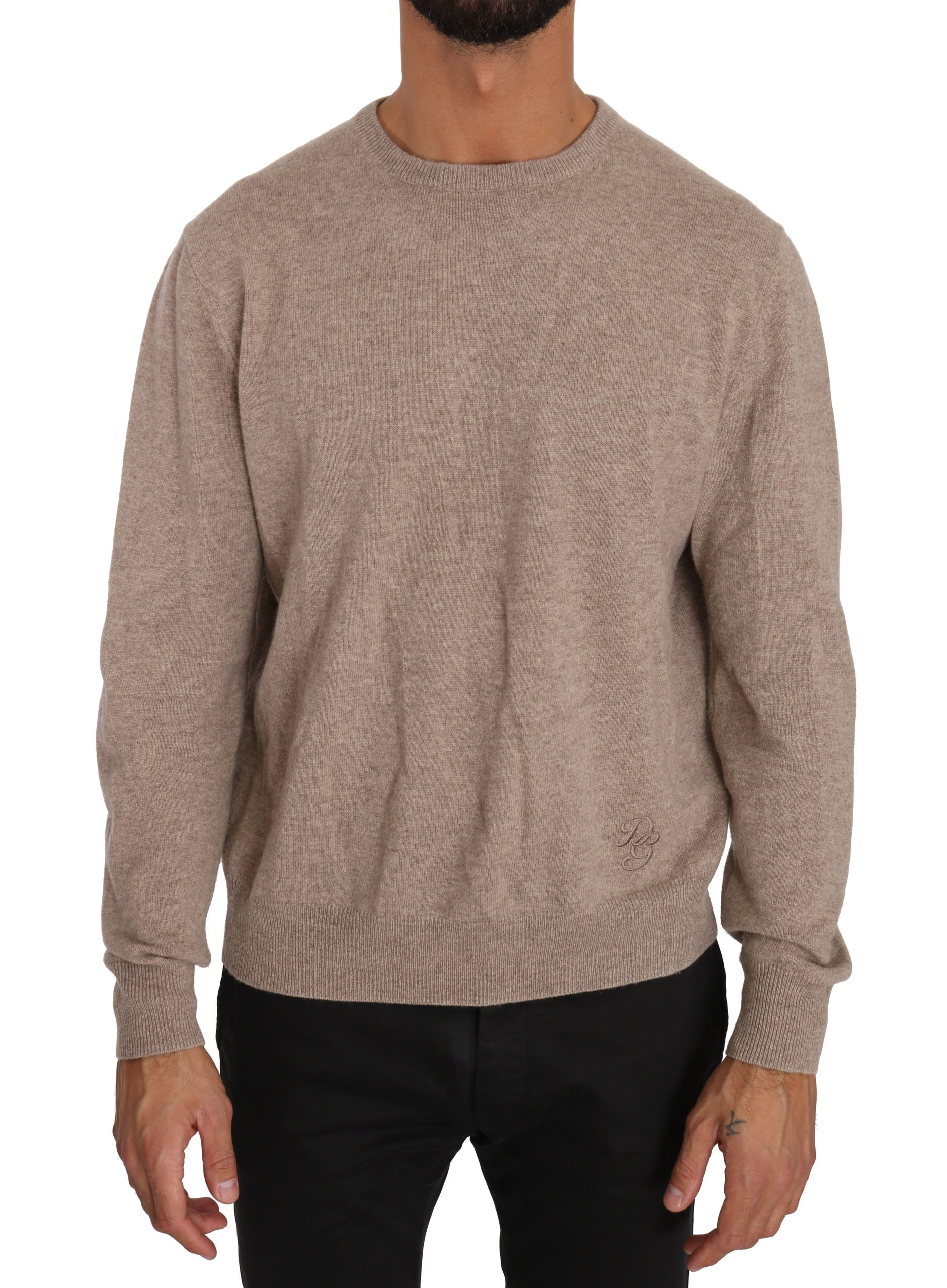 Dolce & Gabbana Men's Wool Cashmere DG Logo Pullover Sweater Beige TSH2726 - IT50 | L