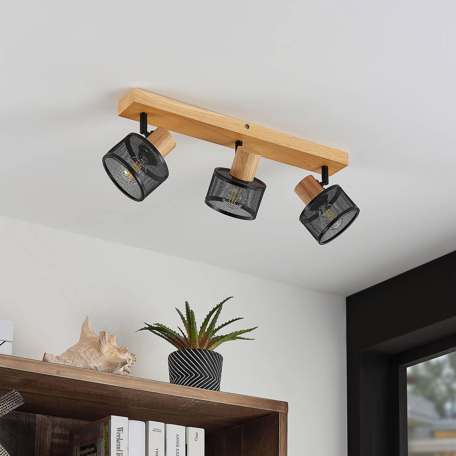 Lindby Evinora -kattokohdevalo puuta, 3-lamppuinen