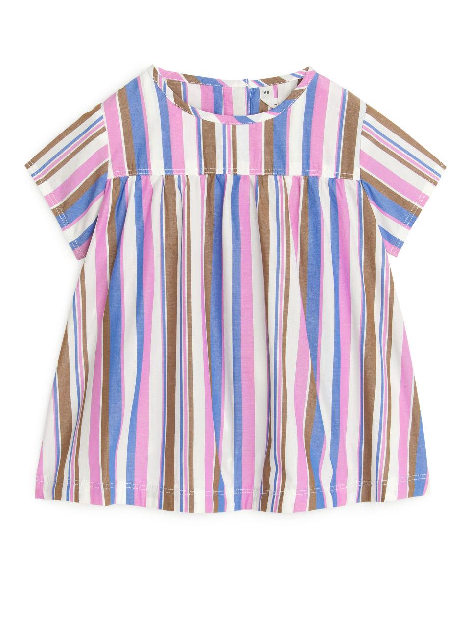Striped Poplin Dress - White