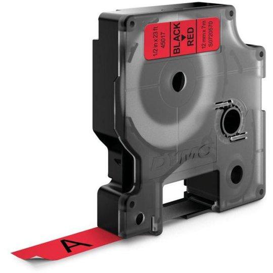 DYMO Standard D1 Teippi 12mm Musta teksti, punainen pohja
