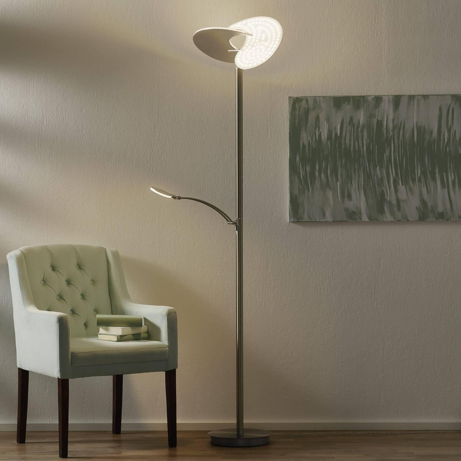 B-Leuchten Malibu LED-gulvlampe dimbar, nikkel
