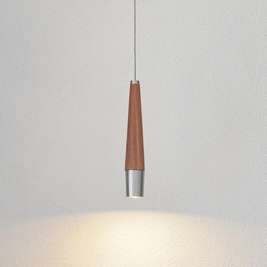 Kapea LED-riippuvalaisin Conico, pähkinäpuuta