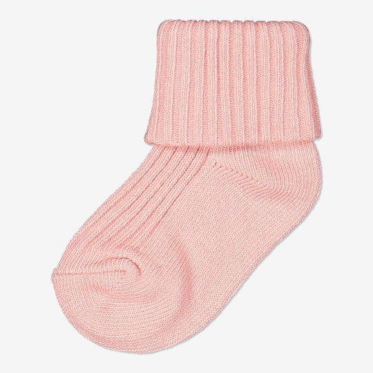 Ensfargede sokker baby rosa