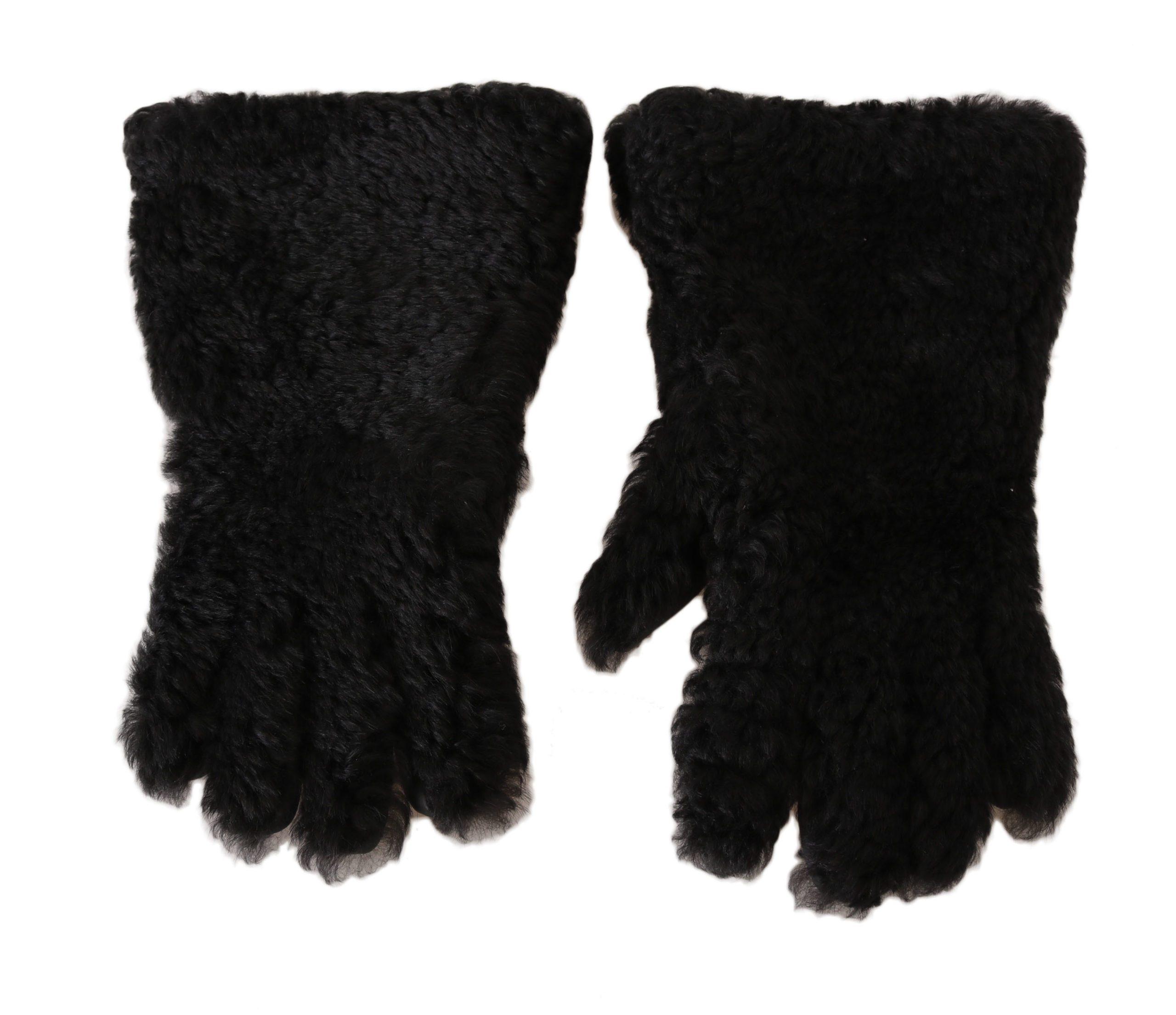 Dolce & Gabbana Men's Deerskin Lapin Lamb Fur Warm Gloves Black LB280 - 9 M