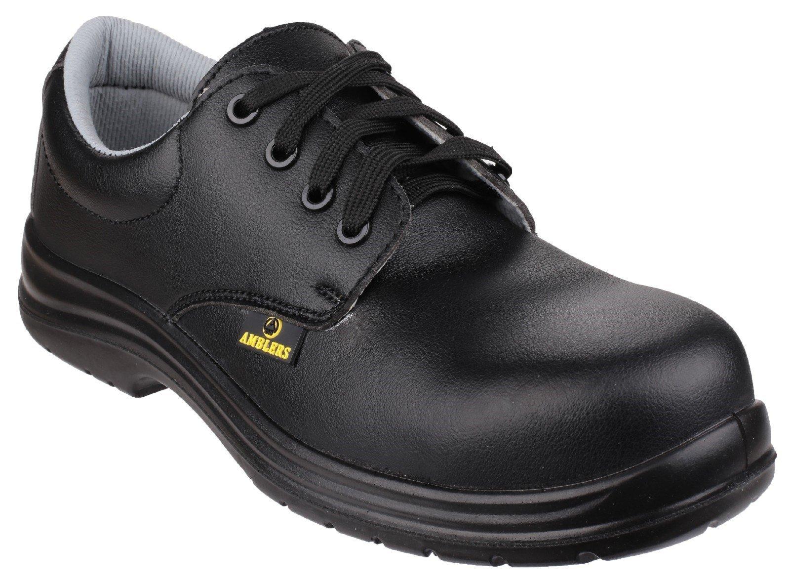 Amblers Unisex Safety Metal Free Water Resistant Lace up Shoe Black 20438 - Black 8