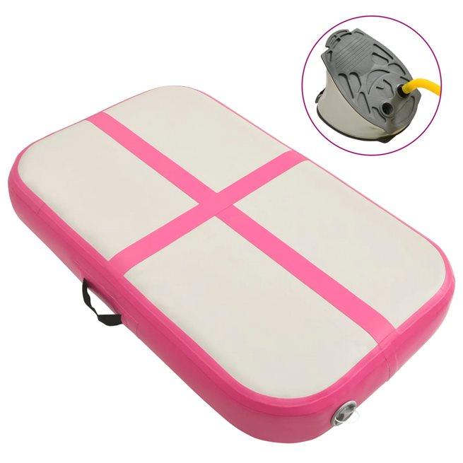 vidaXL Uppblåsbar gymnastikmatta med pump 60x100x15 cm PVC rosa