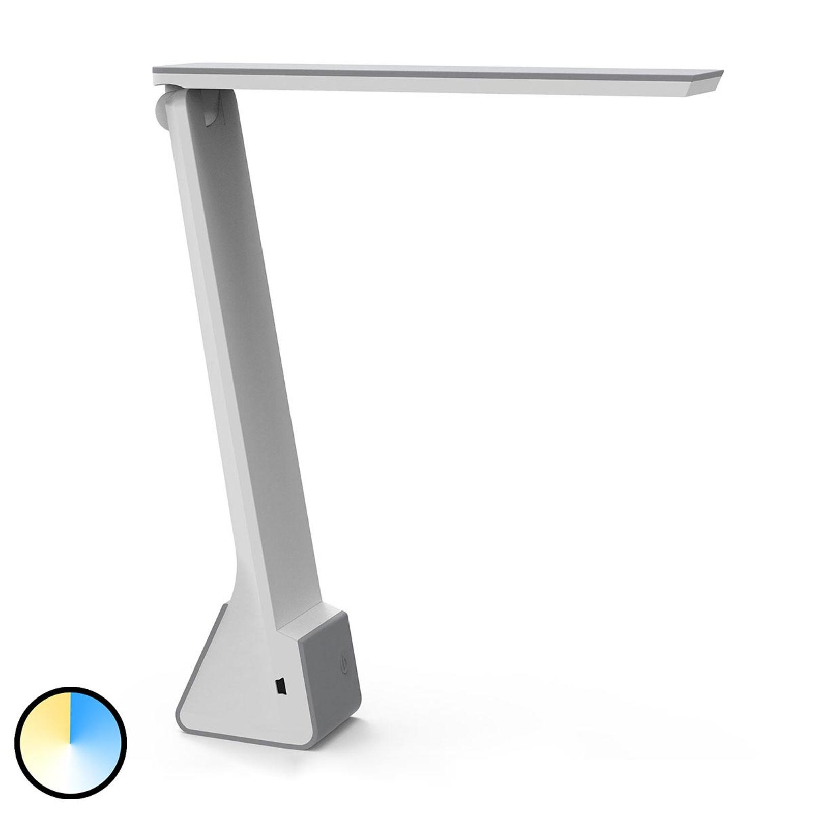 LED-työpöytälamppu MAULseven, akku, harmaa