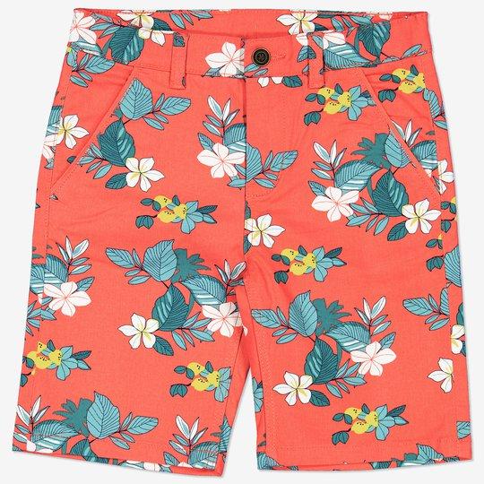 Shorts med blomstertrykk korall