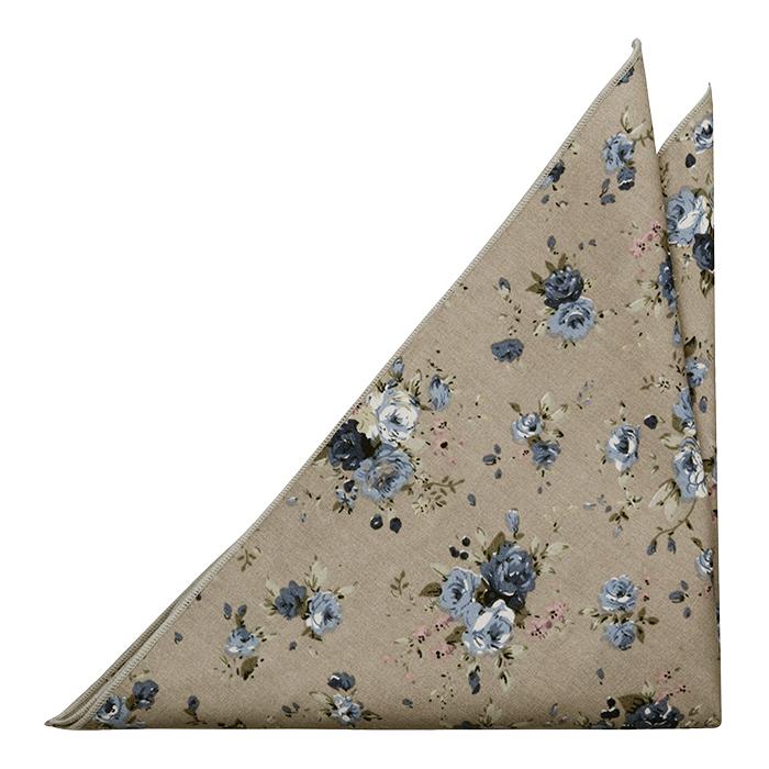 Bomull Lommetørkler, Små blå og hvite blomster på beige, Beige, Blomstrete