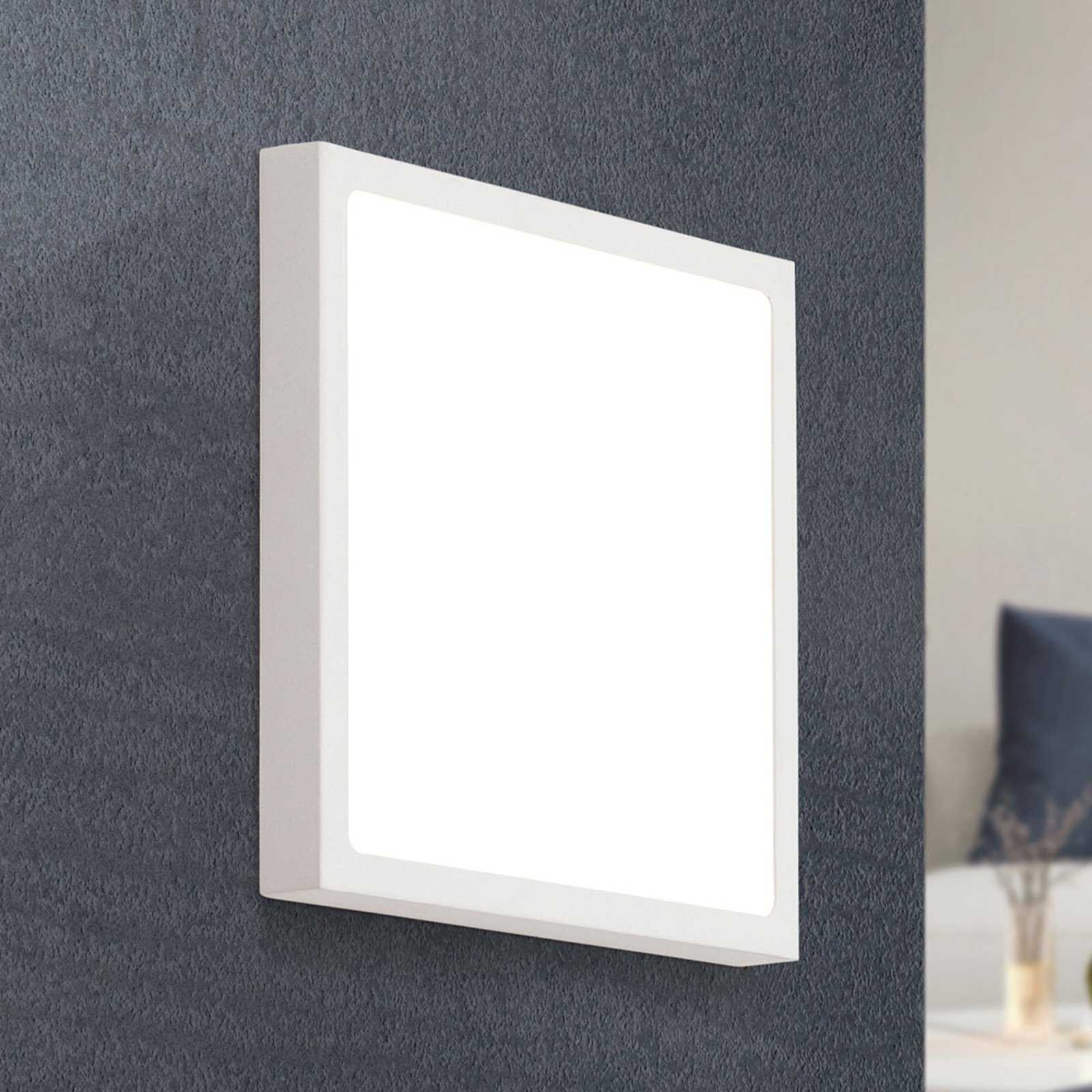 LED-vegglampe Vika, firkantet, hvit, 23x23cm