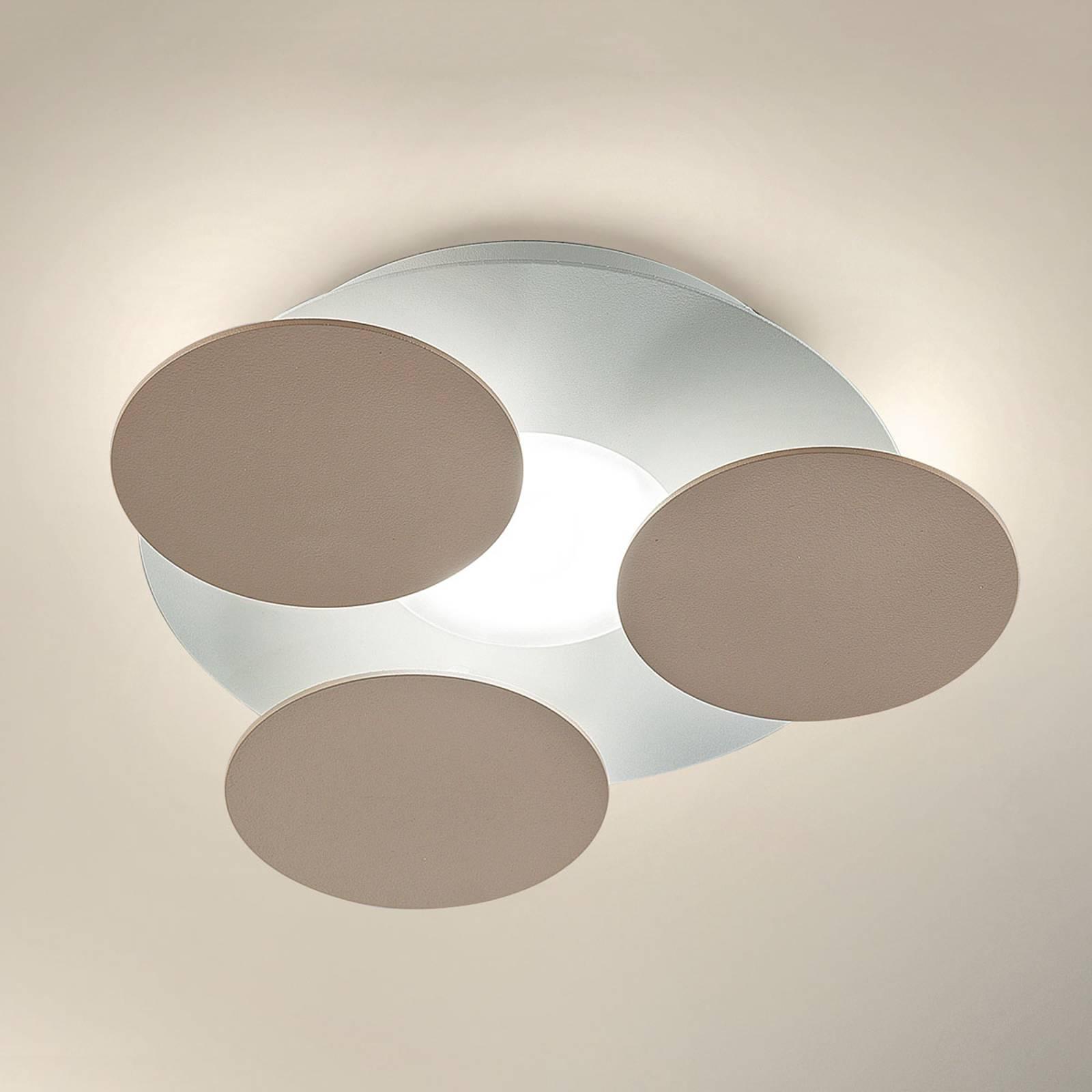 Pyöreä harmaanruskea LED-kattovalaisin Nuvola