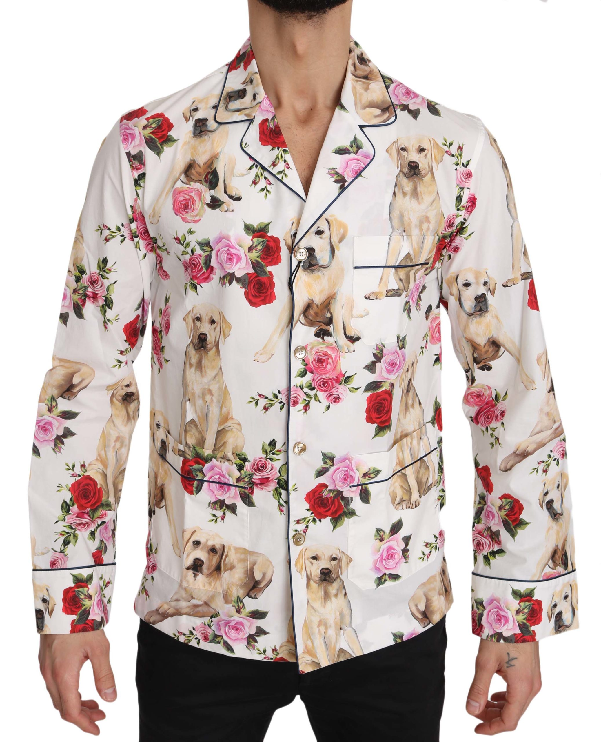 Dolce & Gabbana Men's Labrador Roses Cotton Shirt White TSH3362 - IT37 | XS