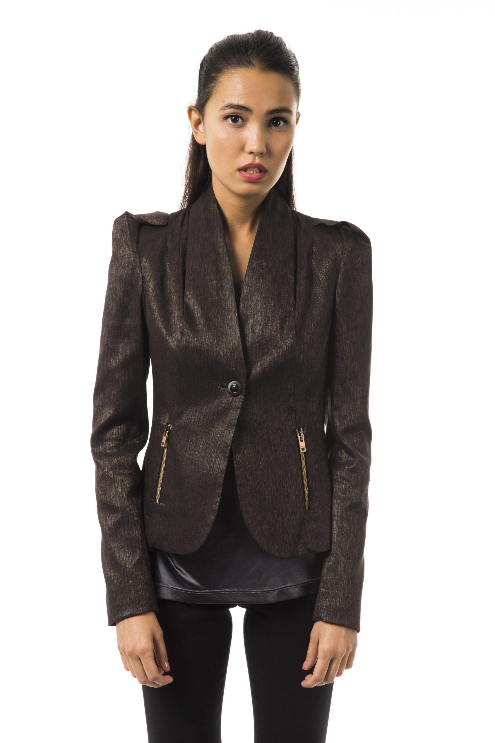 BYBLOS Women's Mattonebis Blazer Brown BY1263717 - IT40 | XS