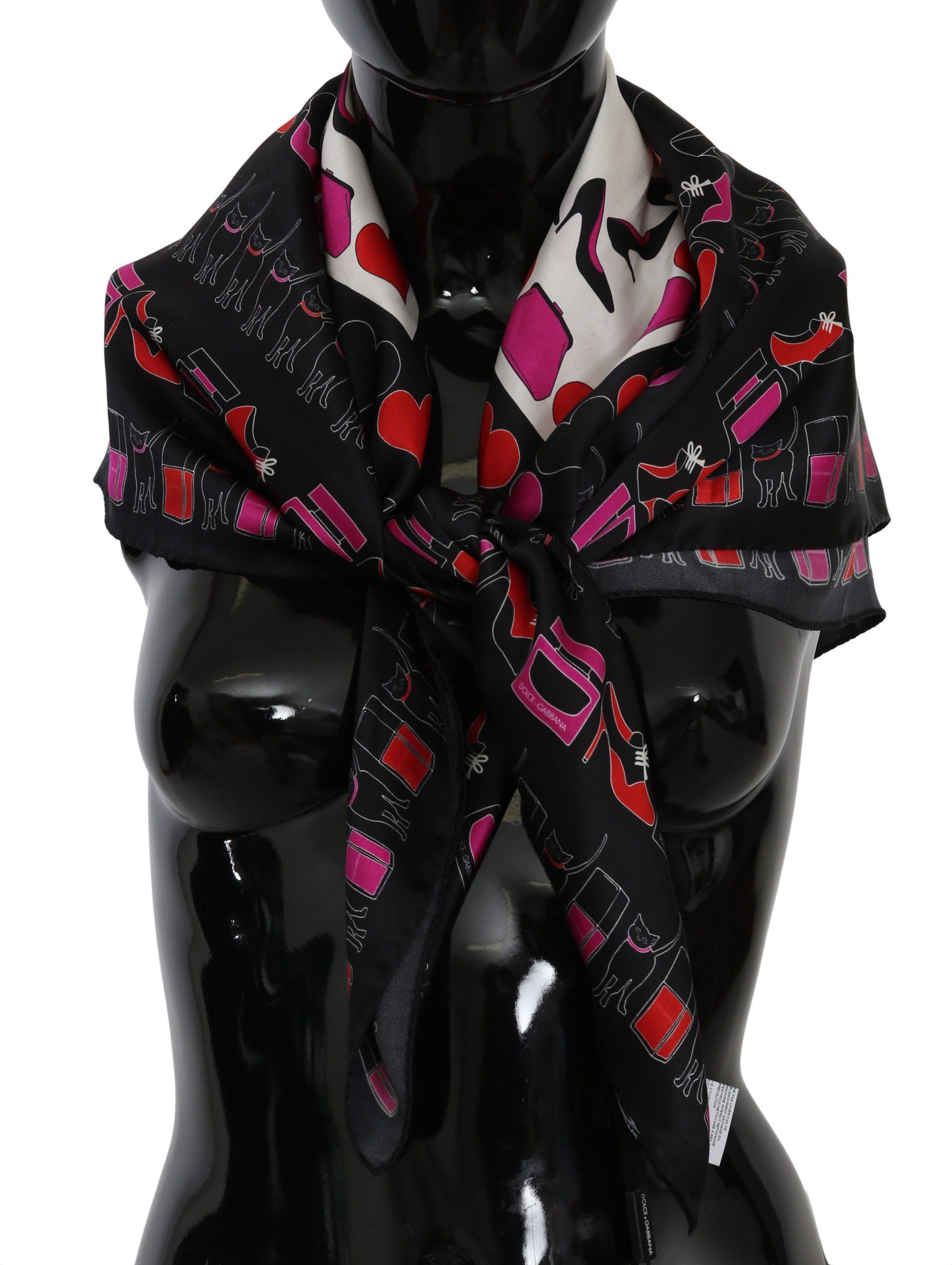 Dolce & Gabbana Women's Fashion Print Wrap Silk Scarf Black MS6026
