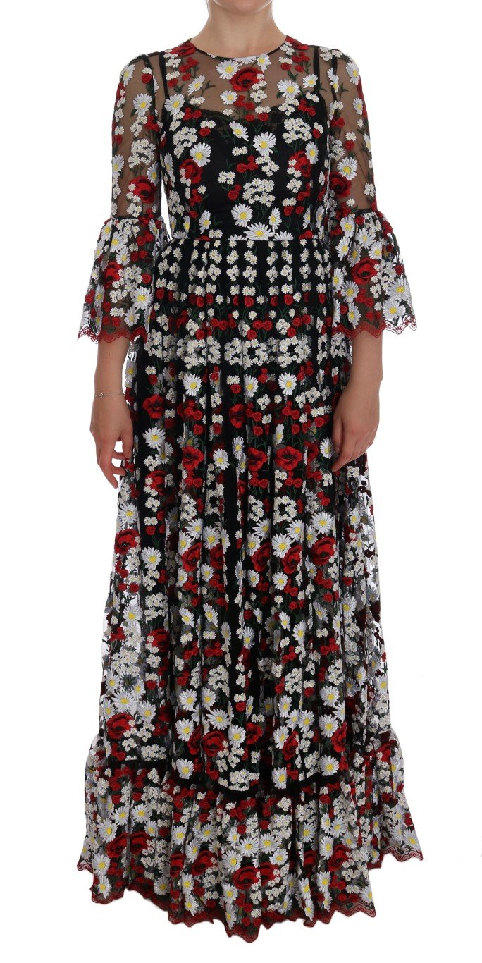 Dolce & Gabbana Women's Chamomile Embroidered Dress Multicolor DR1026 - IT38 XS