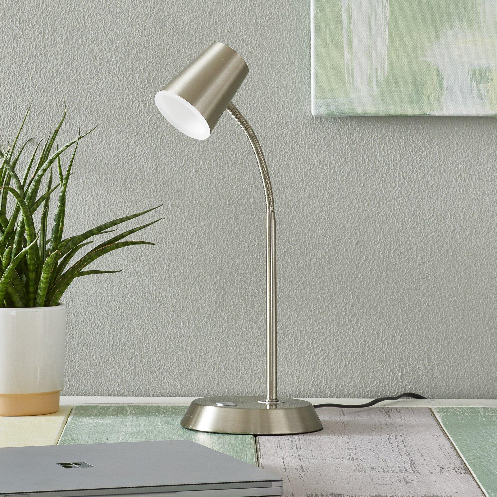 Nikkelfarget LED-bordlampe Narcos