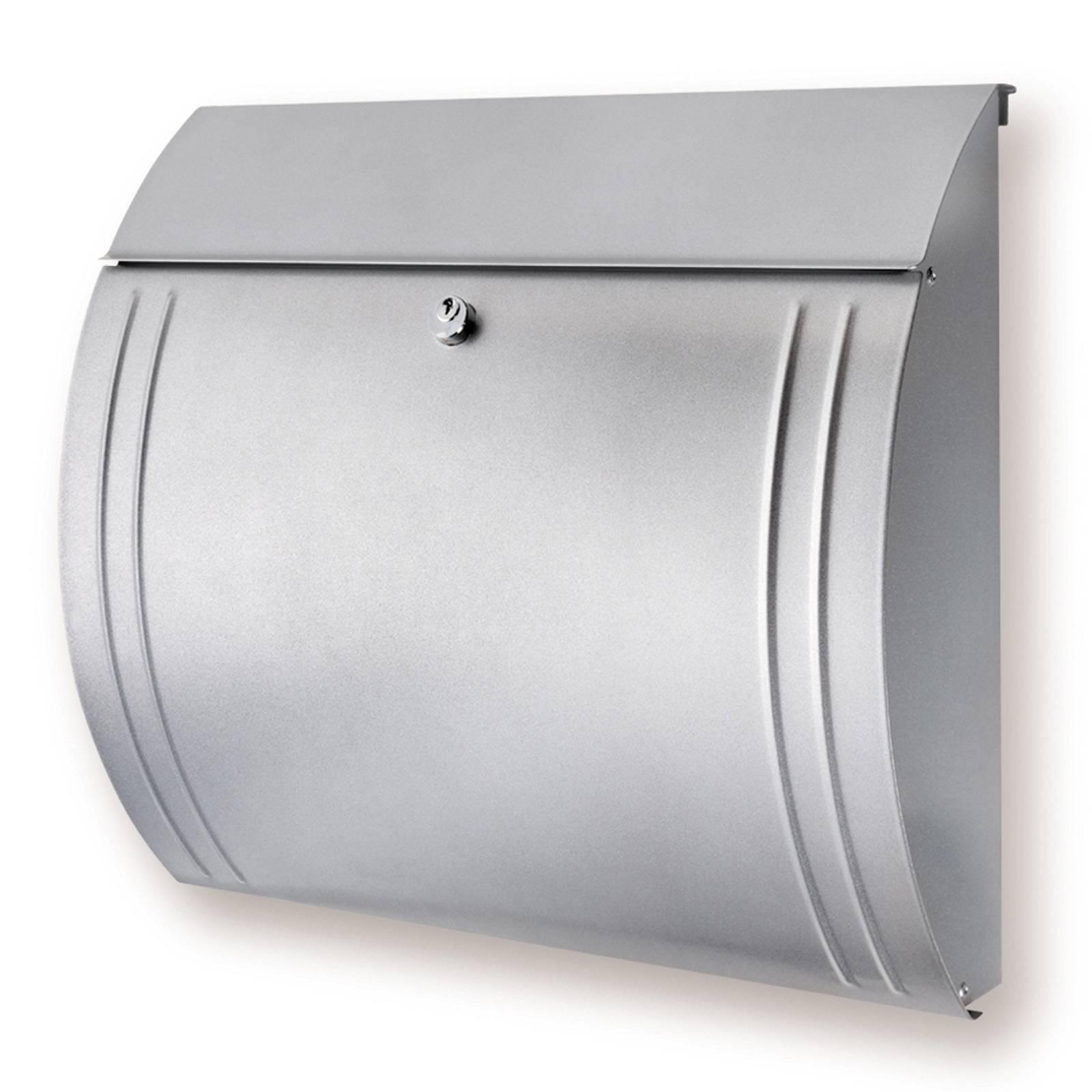 Tyylikäsmuotoinen Modena-teräspostilaatikko, hopea