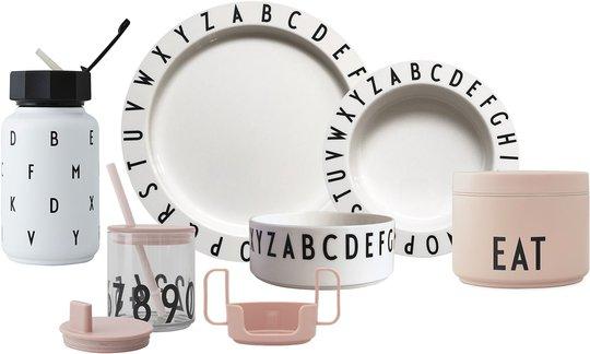 Design Letters Eat & Learn Barneservise Gaveboks Premium, Nude/Hvit