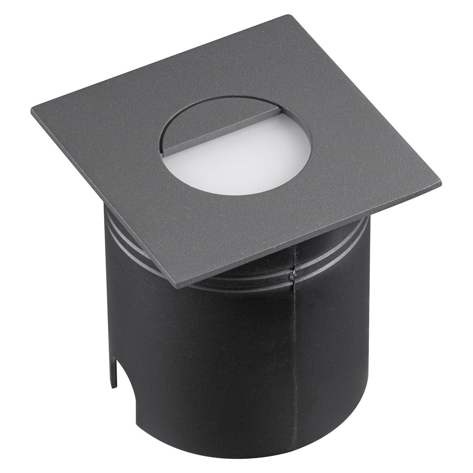 Aspen LED-innfellingslampe, spreder, kantet, grå