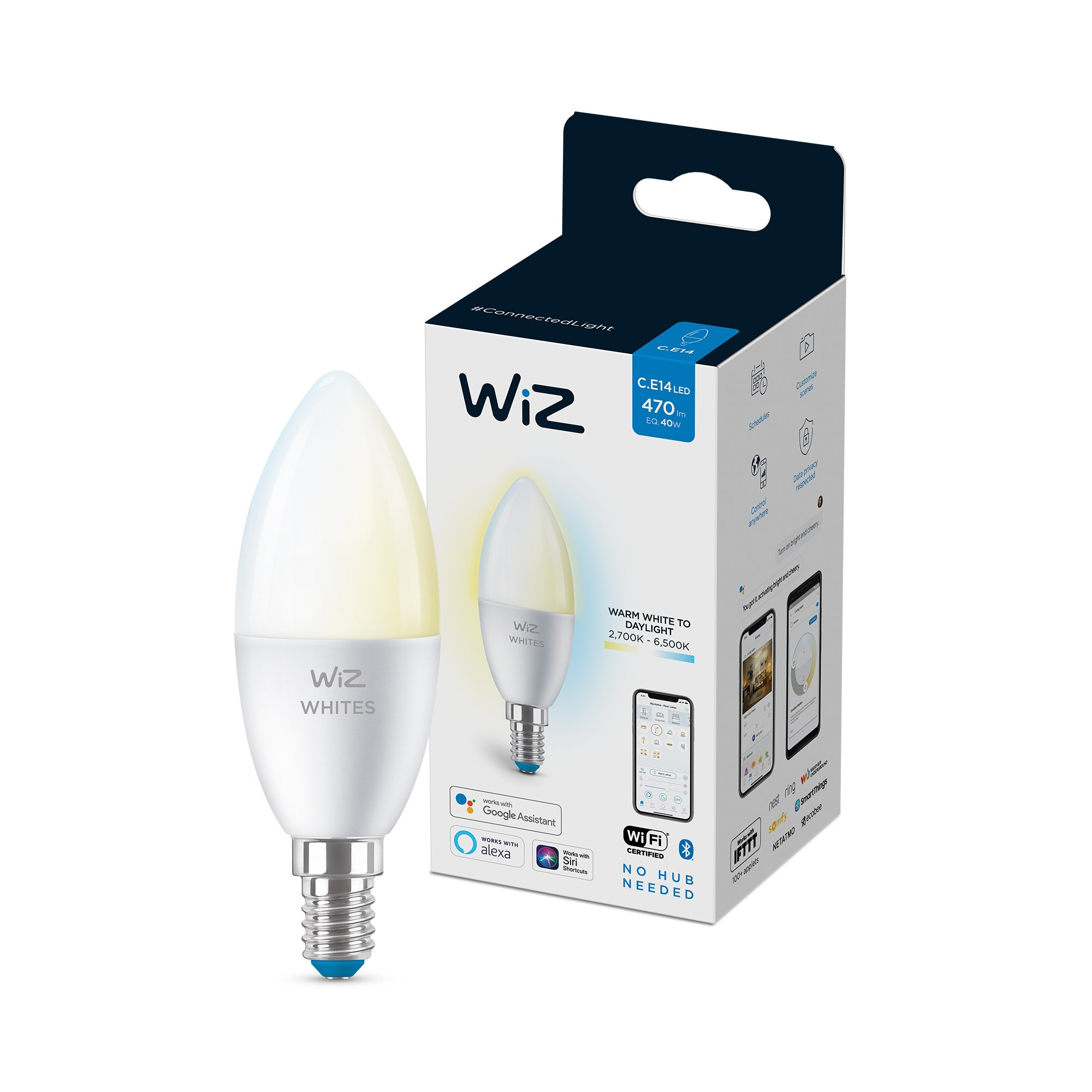 WiZ - C37 Candle E14 Tunable white - Smart Home