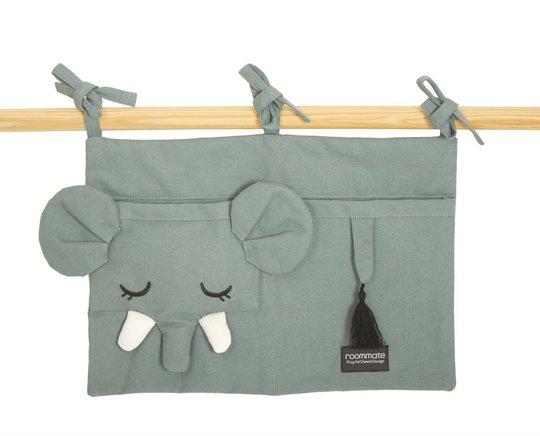 Roommate Bed Pockets Elephant, Sea Grey