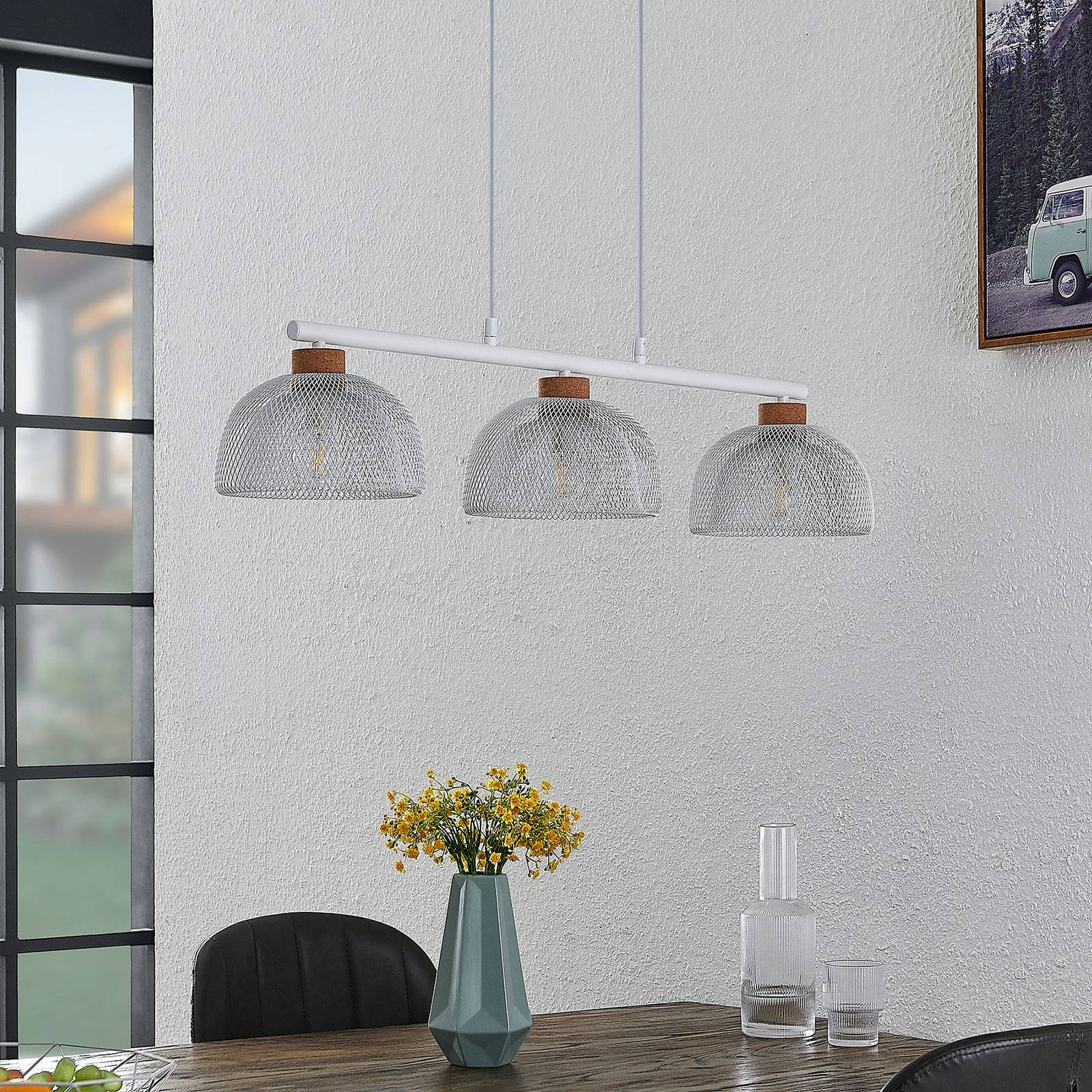 Lindby Louk -riippuvalo, 3-lamppuinen, valkoinen