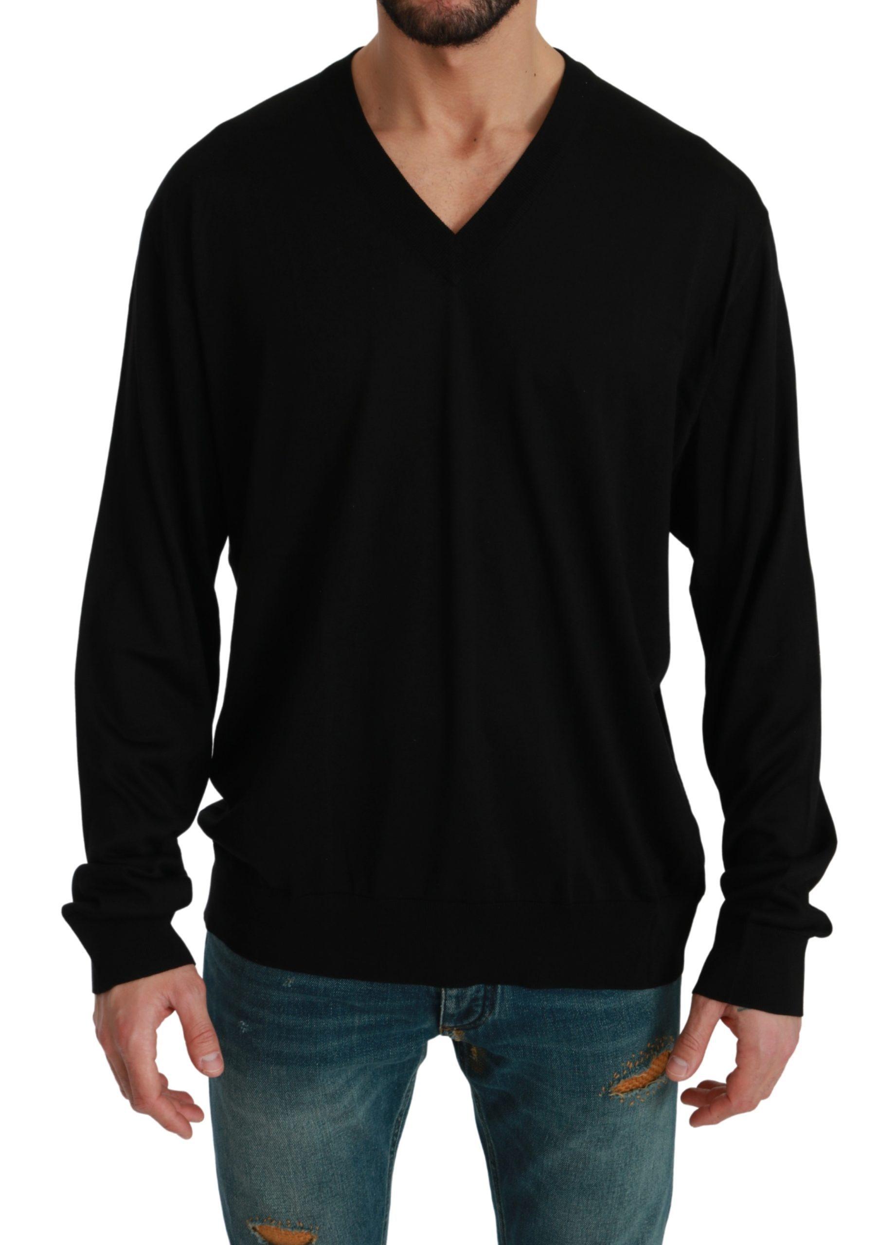 Dolce & Gabbana Men's V-neck Pullover Silk Sweater Black TSH4570 - IT58   XXL
