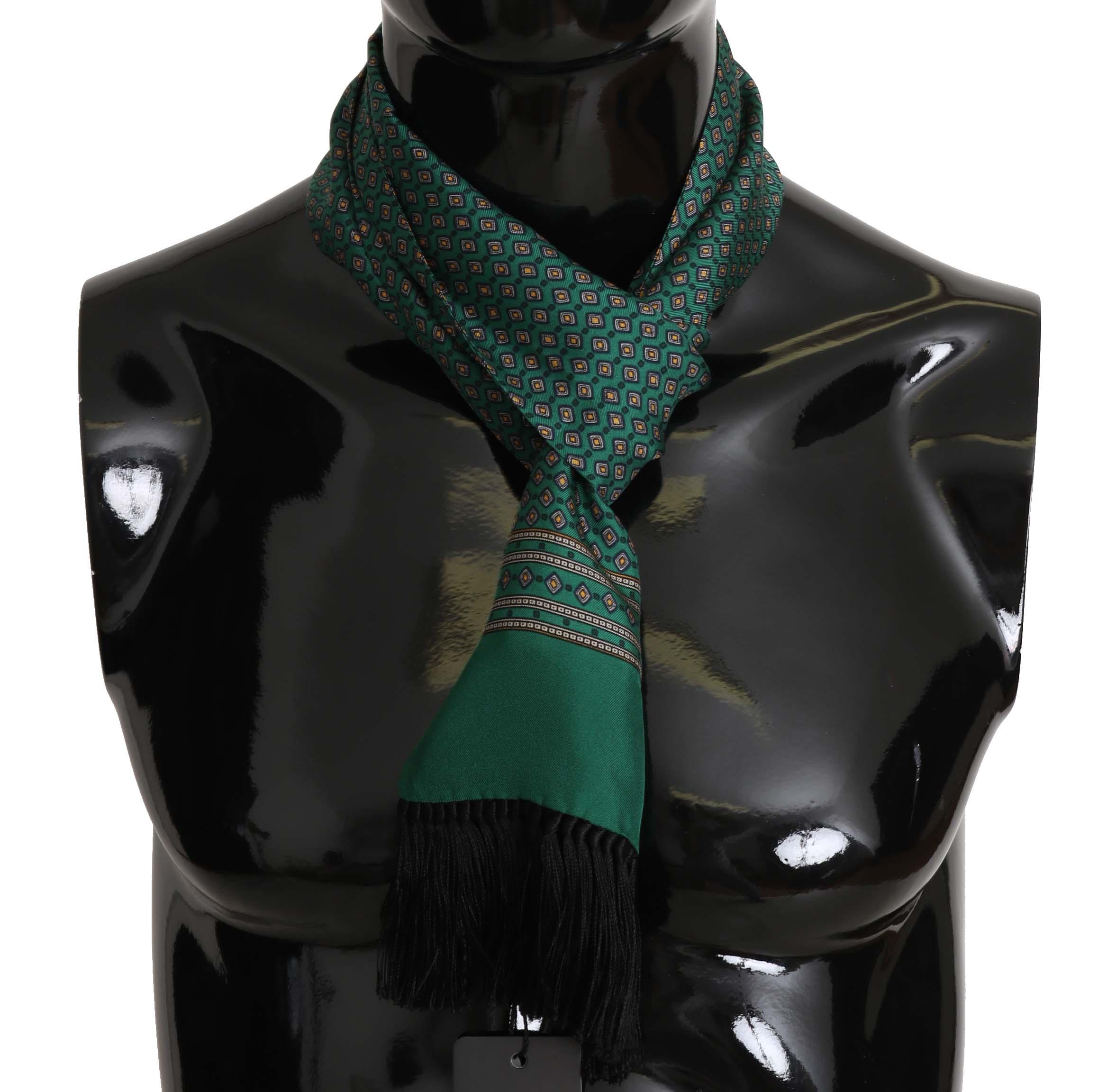 Dolce & Gabbana Men's Baroque Tassel Silk Scarf Green MS5134