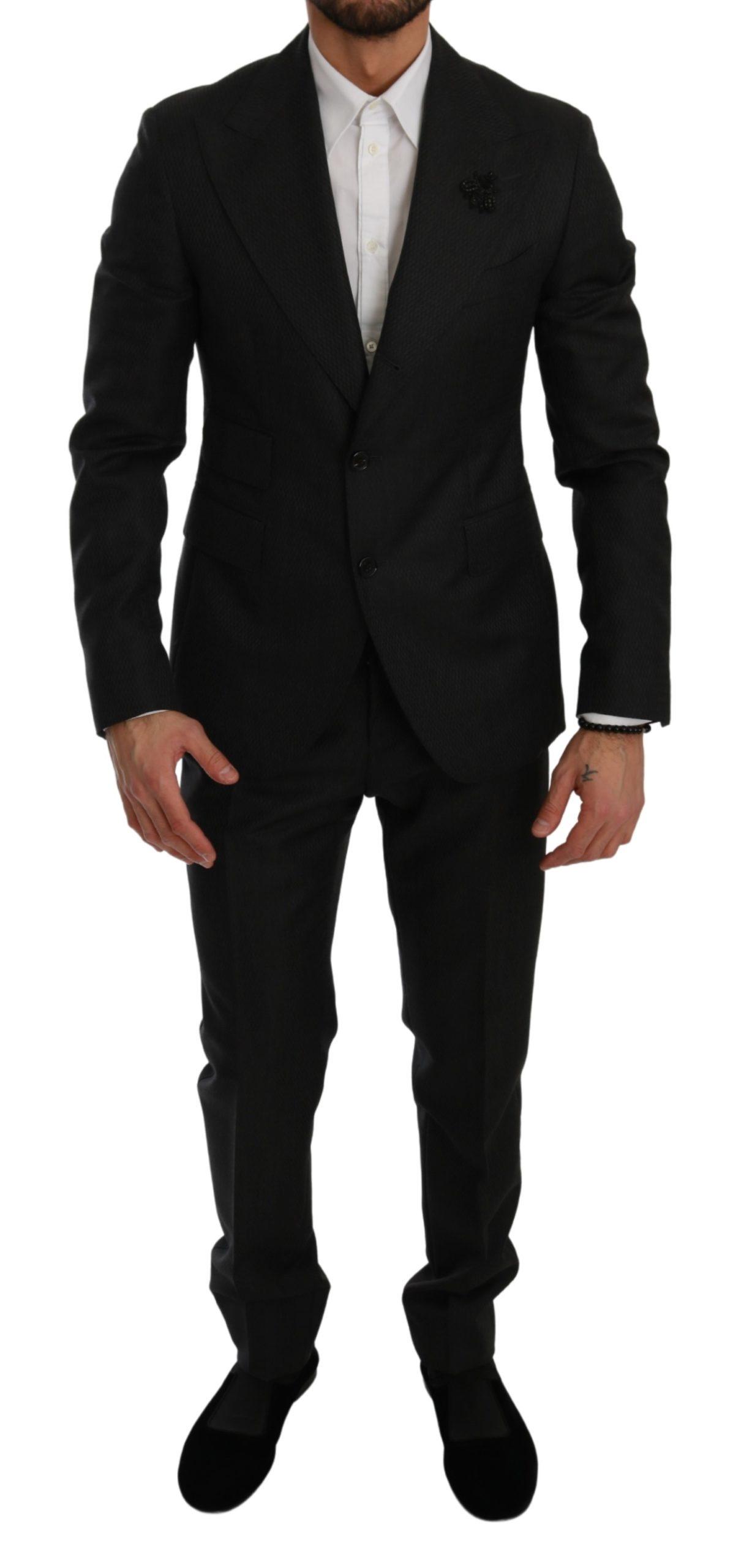 Dolce & Gabbana Men's Crystal Bee Slim Fit 2 Piece Suit Black KOS1781 - IT44 | XS