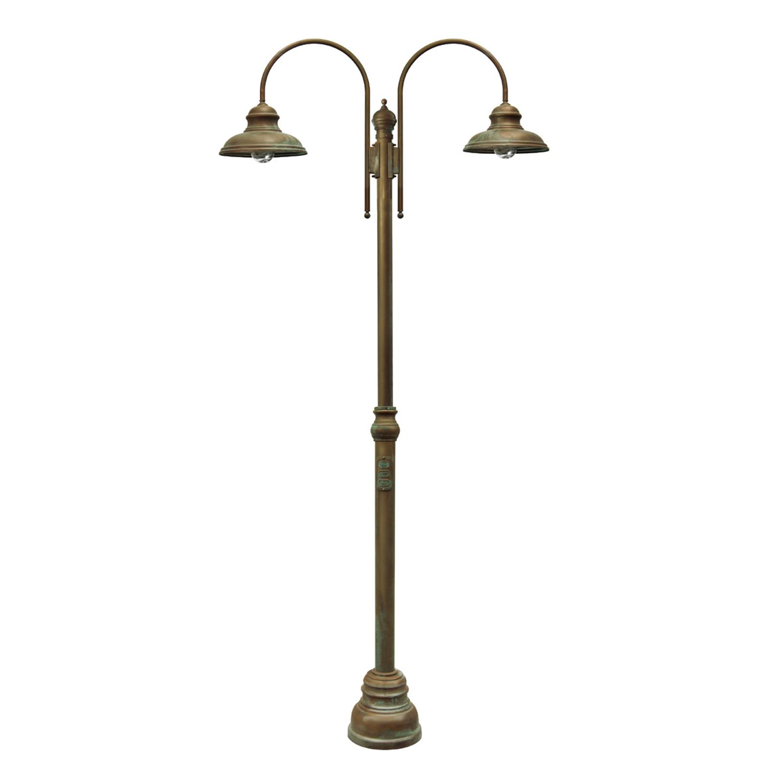 Luca-pylväsvalo, antiikkikupari-messinki, 2-lamp.