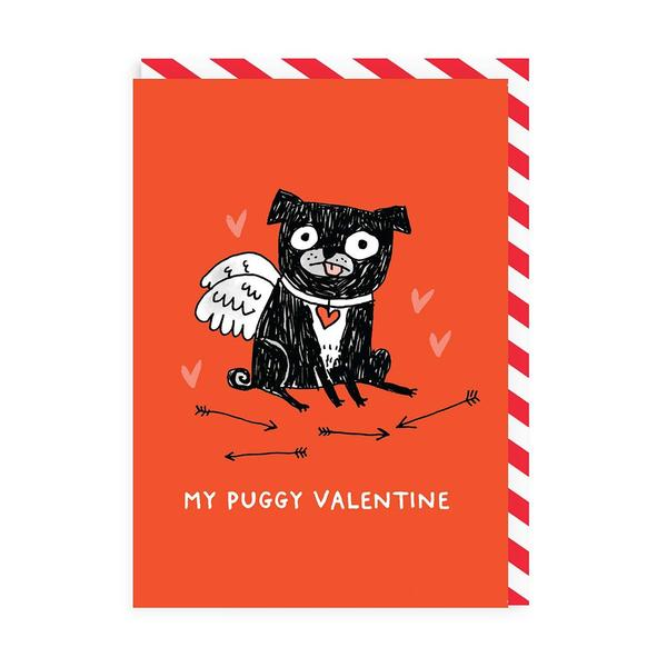 My Puggy Valentine Red Greeting Card