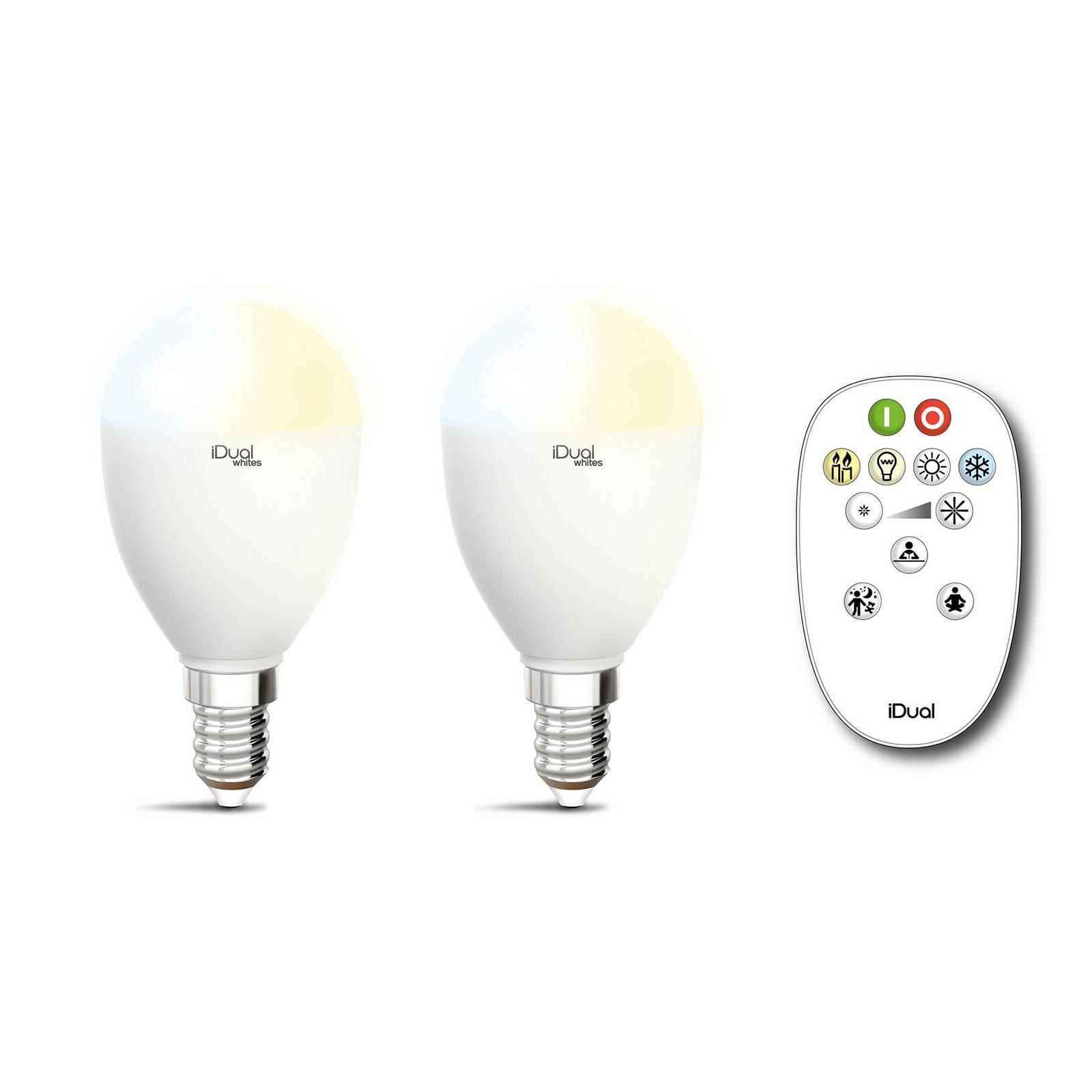 iDual Whites-LED-lamppu E14 5,5W 2kpl, kaukosäädin