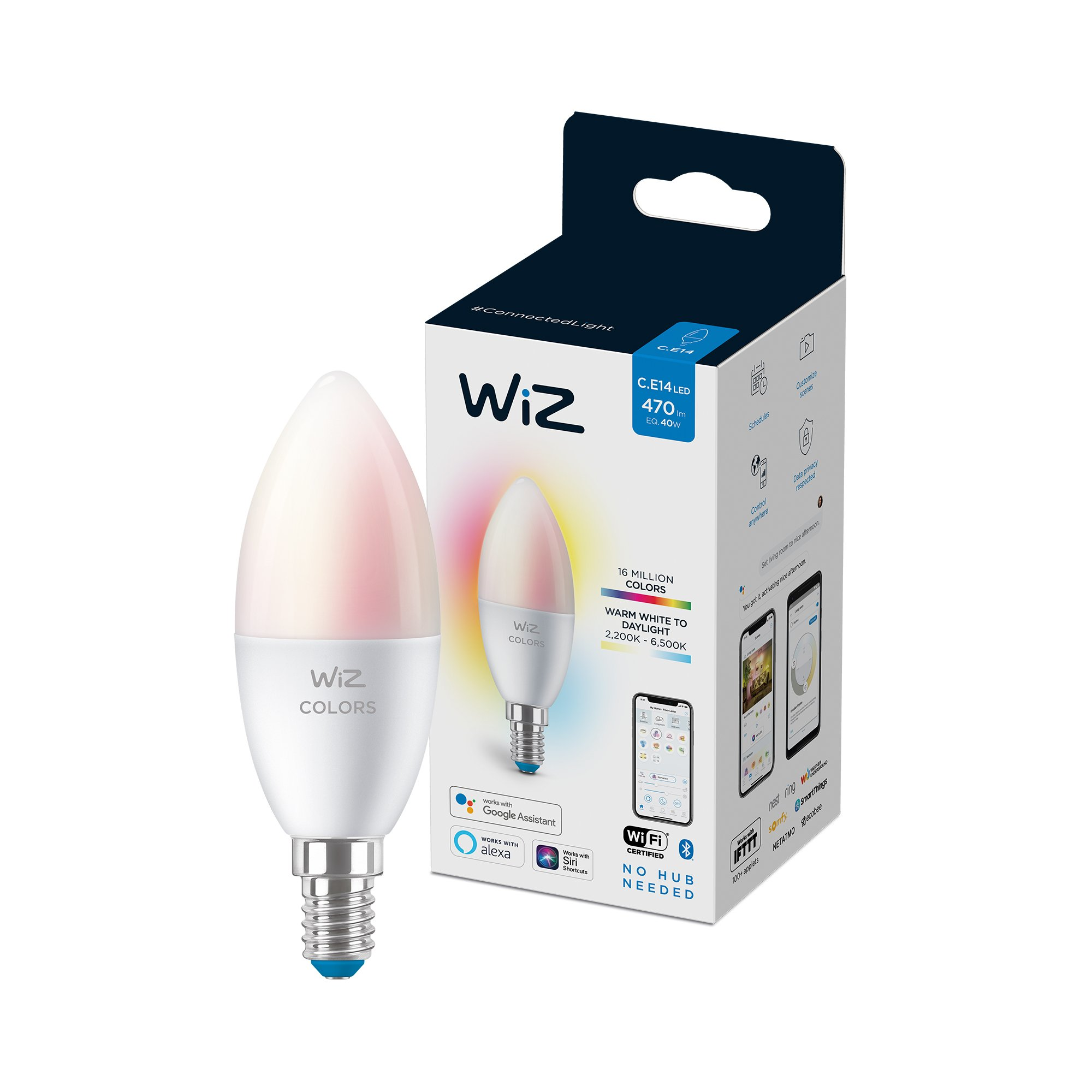WiZ - C37 Candle E14 Colour and Tunable White - Smart Home