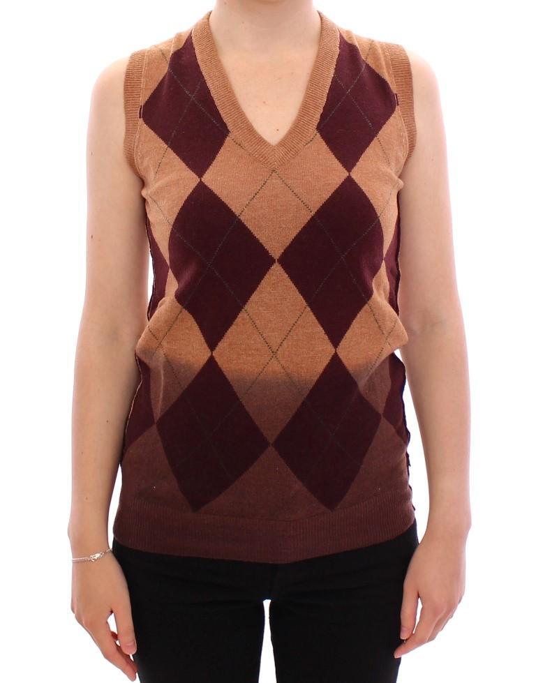 Dolce & Gabbana Women's Wool Blend Sleeveless Vest Sweater Brown MOM11153 - S