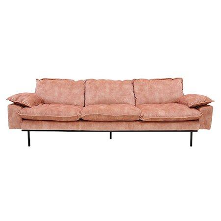 Retro Sofa Fløyel 4-Seter Rosa
