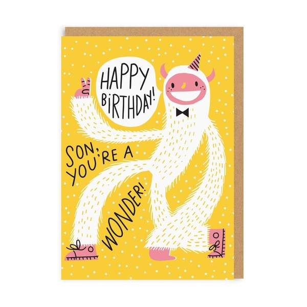 Son Yeti Birthday Greeting Card