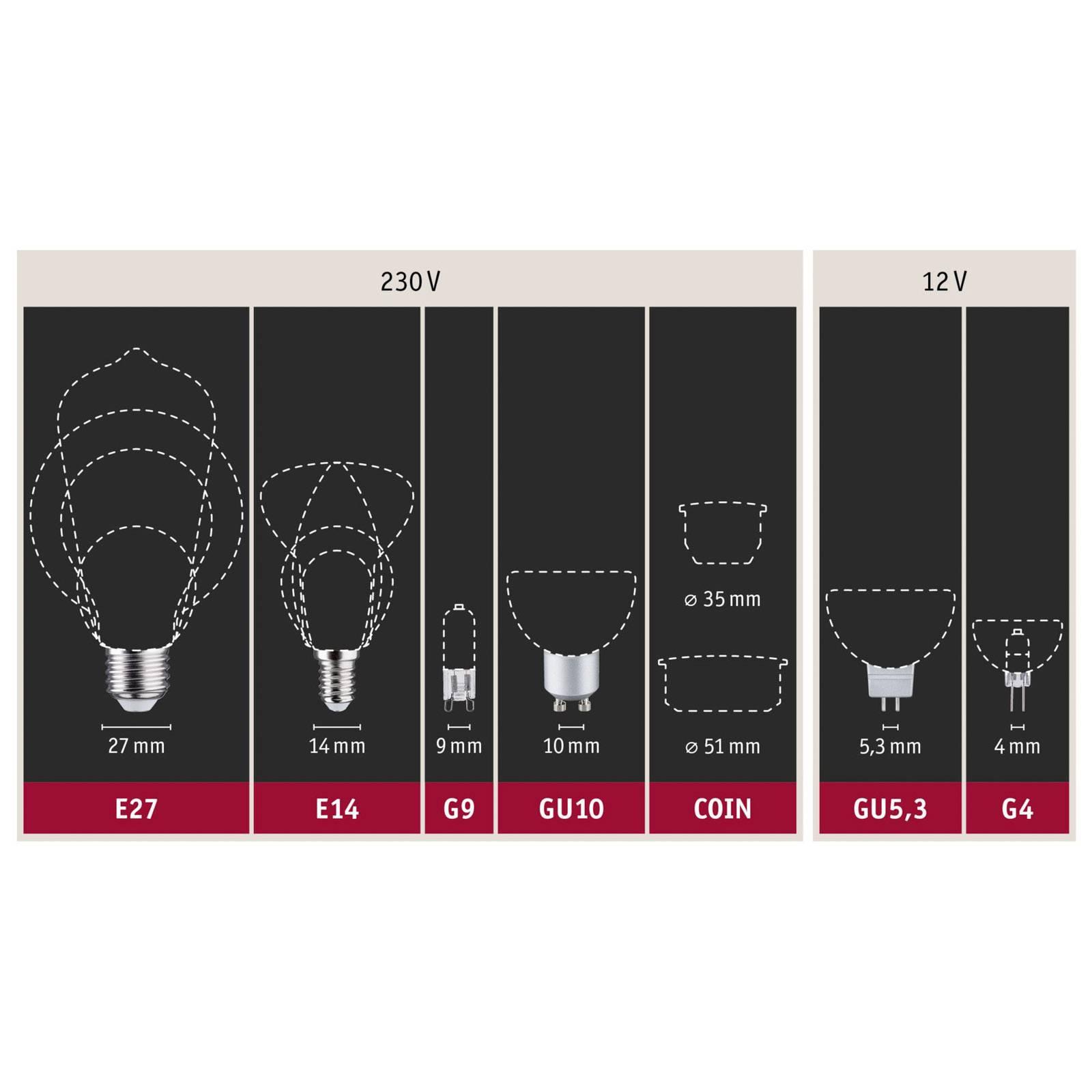 Paulmann-LED-lamppu E27 6,5W 2 700 K opal 3 kpl