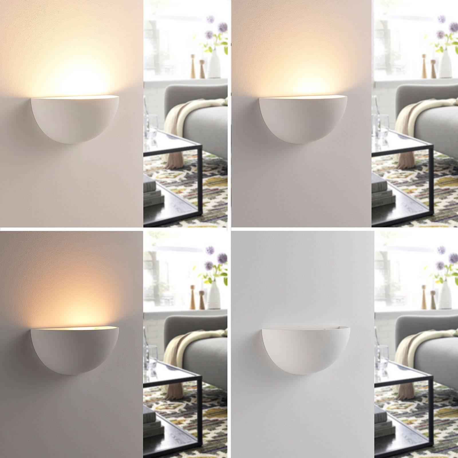 Puolipyöreä LED-seinävalo Narin, kipsi valkoinen