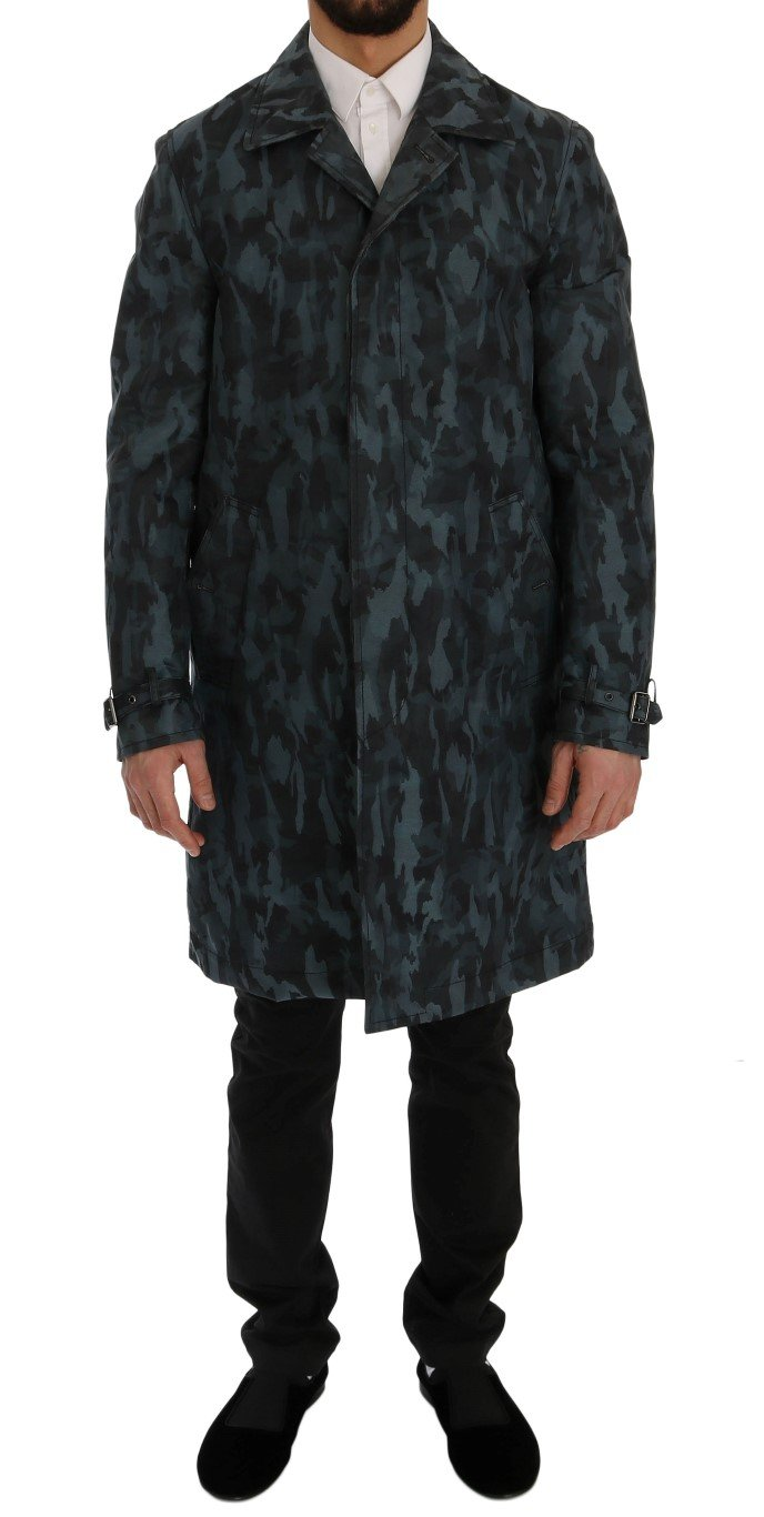 Dolce & Gabbana Men's Camouflage Trench Trench Blue SIG60312 - IT48 | M