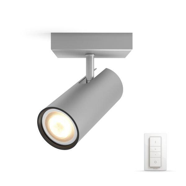 Philips Hue - Buratto Single Spot Incl. Remote Aluminium - White Ambiance - E