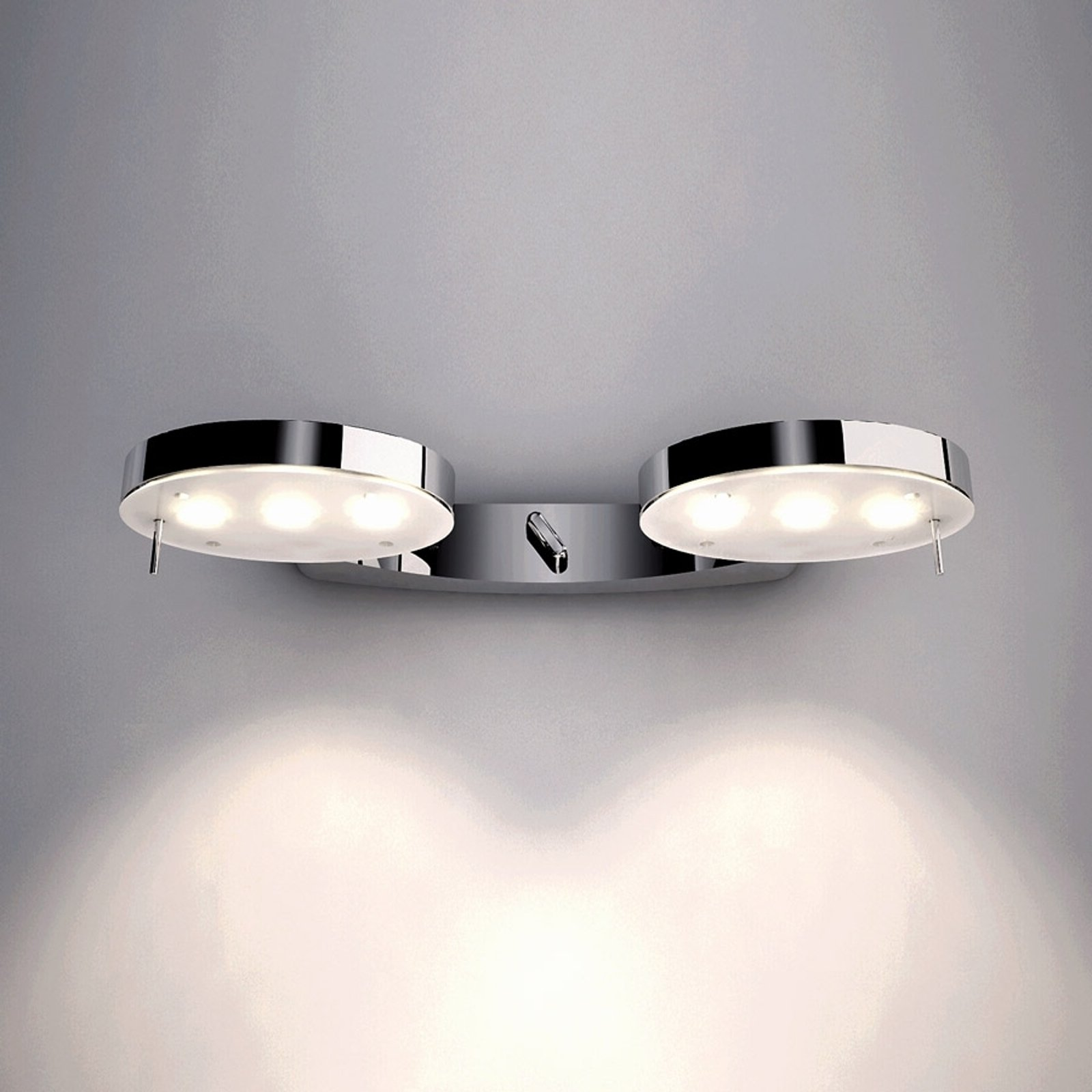 Blank forkrommet vegglampe 3-LED 2 lys