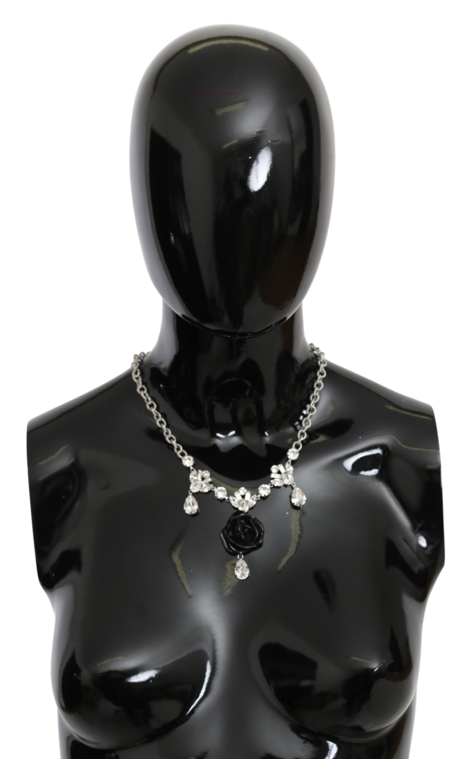 Dolce & Gabbana Women's Chain Clear Crystal Roes Necklace Silver SMY10092