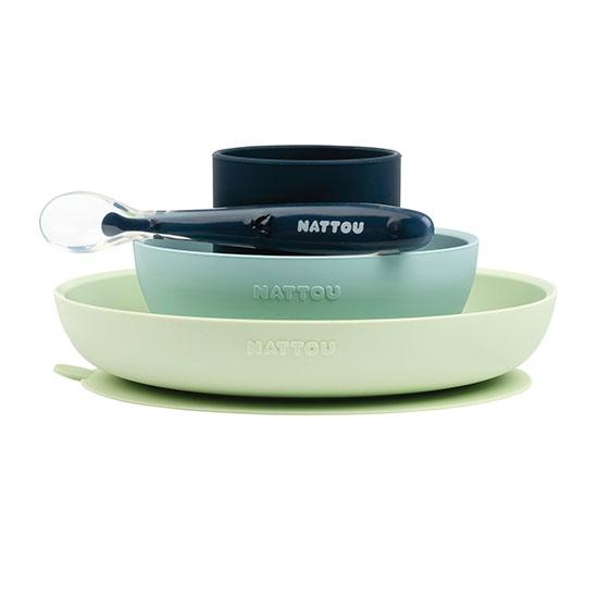 Nattou - Dinner Set 4 Pcs Soft Silicone - Green / Navy
