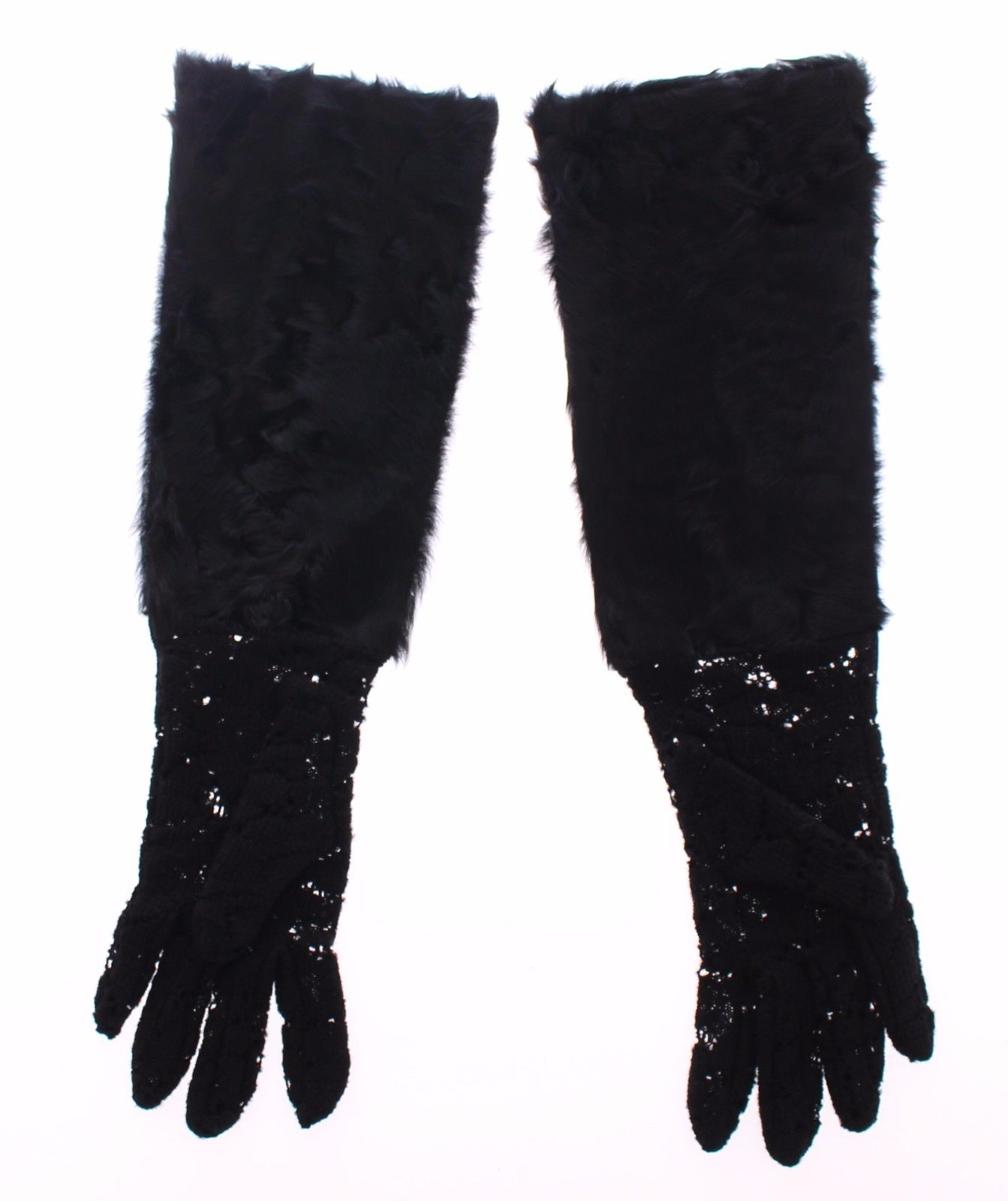 Dolce & Gabbana Women's Lace Wool Lambskin Fur Elbow Gloves Black MOM11451 - 7 | S
