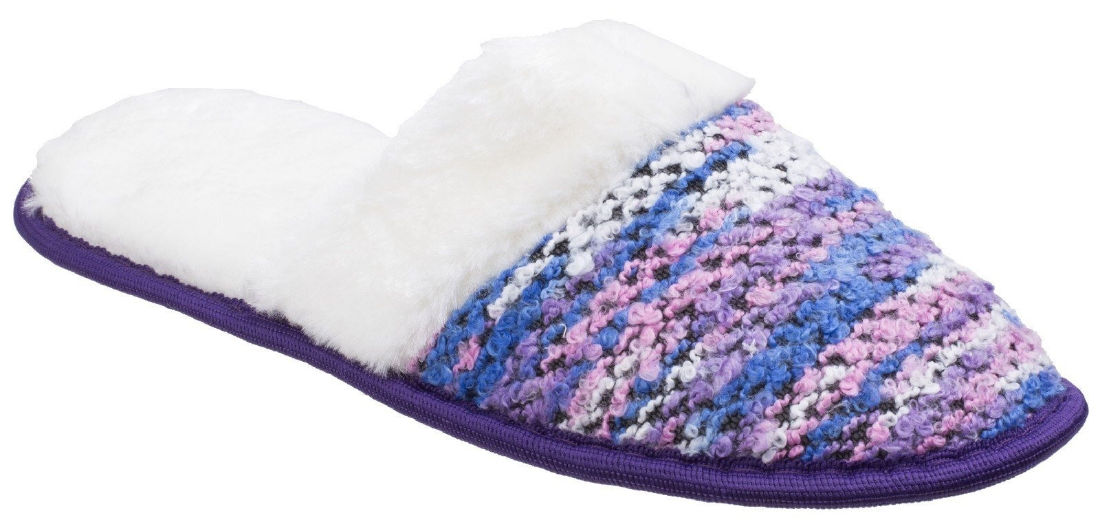 Divaz Women's Salzburg Knitted Mule Slipper Various Colours 25586 - Purple 4