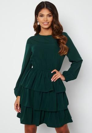 Happy Holly Astrid Flounce Dress Dark green 48/50