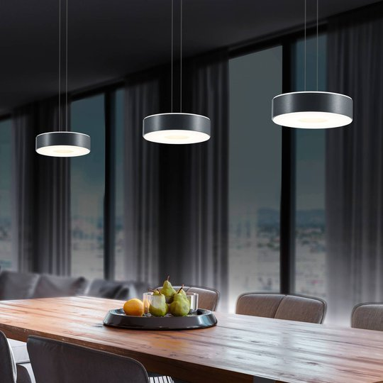 BANKAMP Tondo -LED-riippuvalo, 3-lamp., antras.