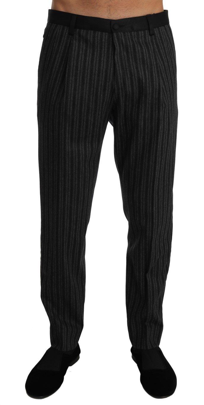 Dolce & Gabbana Men's Wool Stripe Regular Trouser Gray PAN60948 - W34